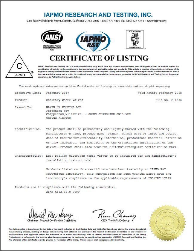 Iapmo Certificate Hepvo