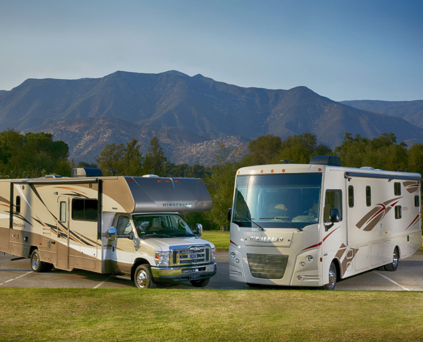 RV and Camper Van with Mountains