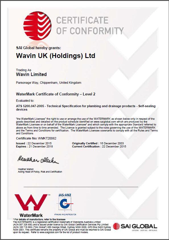 SAI Certificate of Conformity to Australian Standard ATS5200