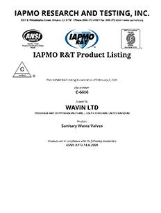 IAPMO Certificate Wavin LTD